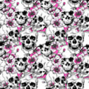 Skulls And Red Flowers Poster