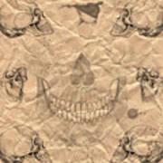 Skulls In Grunge Style Poster