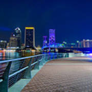 skyline and river coast scenes in Jacksonville Florida Poster