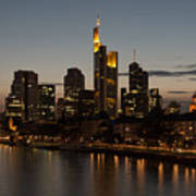 Skyline Of Frankfurt City In Twilight Poster