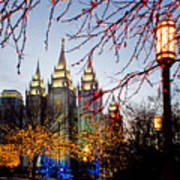 Slc Temple Lights Lamp Poster by La Rae  Roberts