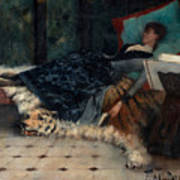 Sleeping Woman With A Book Poster