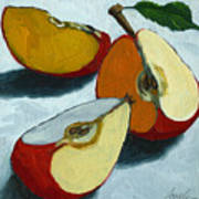 Sliced Apple Still Life Oil Painting Poster