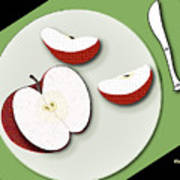 Sliced Apple Poster