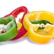 Sliced Colorful Peppers Poster