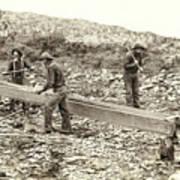 Sluice Box Placer Gold Mining C. 1889 Poster