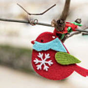 Small Red Handicraft Bird Hanging On A Wire Poster