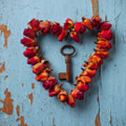 Small Rose Heart Wreath With Key Poster