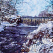 Small Stream, Snowy Scene And Waterfalls. Poster
