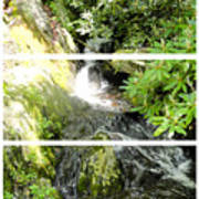 Small Waterfall Smoky Mountains Triptych Poster