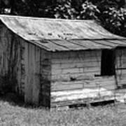 Small White Barn B W Poster