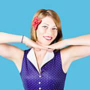 Smiling Retro Woman Showing Lipstick Makeup Poster