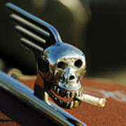 Smoking Skull Hood Ornament Poster