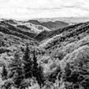 Smoky Mountains In Black And White Poster