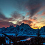 Snake River And Tetons At Sunset Poster