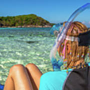 Snorkeler Relaxing On Tropical Beach Poster