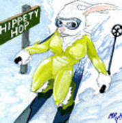 Snow Bunny Skiing Poster