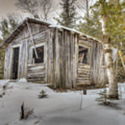 Snow Covered Abandon Cabin Poster