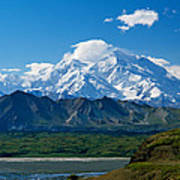 Snow-covered Mount Mckinley, Blue Sky Poster
