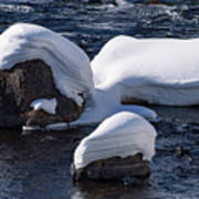 Snow Covered River Rocks Poster