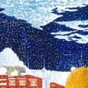 snow falling on Istanbul Poster