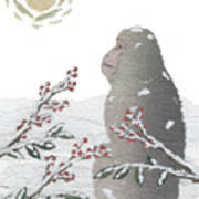 Snow Monkey And Sunrise  Poster