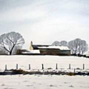 Snow Scene Barkisland Poster
