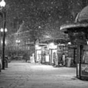 Snowfall In Harvard Square Cambridge Ma Kiosk Black And White Poster