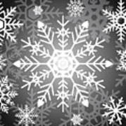 Snowflakes Black And White Poster