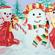 Snowgirls With Serape Scarf Poster