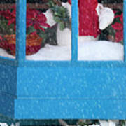 Snowman And Poinsettias - Frosty Christmas Poster