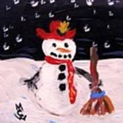 Snowman Under The Stars Poster
