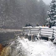 Snowstorm At The Falls Poster