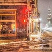 Snowstorm On Tremont Street Boston Ma Park Street Church Poster