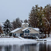 Snowy Boat House Poster