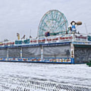 Snowy Coney Island Poster