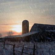 Snowy Farm Poster