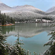 Snowy Green Lake Sunset Whistler B.c Canada Poster