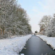 Frozen Scenery Along Canal Poster