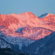 Snowy Mountain Range With A Rosy Hue At Sunset Poster