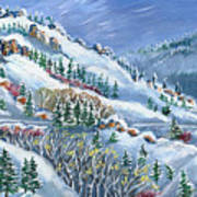 Snowy Mountain Road Poster