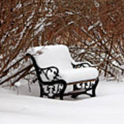 Snowy Park Bench Poster