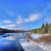 Snowy Shore Of The Moose River Poster
