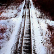 Snowy Train Tracks Poster