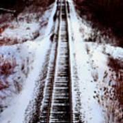Snowy Train Tracks Poster