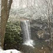 Snowy Waterfall Poster