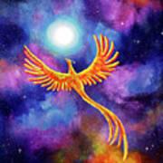 Soaring Firebird In A Cosmic Sky Poster