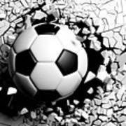 Soccer Ball Breaking Forcibly Through A White Wall. 3d Illustration. Poster