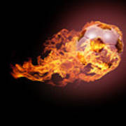 Soccer Ball With Fire Poster