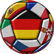 Soccer Ball With Flag Of German In The Center Poster